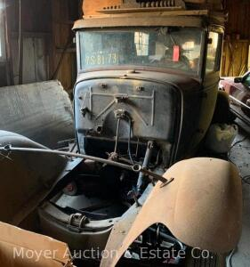 Ford Model A Chassis with engine & radiator included but removed from car (trans. not removed), mostly complete, includes extra & duplicate parts