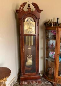 "Howard Miller Grandfather Clock with moon phase dial, beveled glass, 3 chimes, excellent condition & works, new in 1995, 80""t"