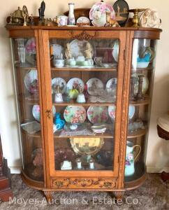 "Oak Curved Glass China Cabinet with drawer at bottom, antique, exc. condition, oak shelves, 52""w x 66""t x 15""d"