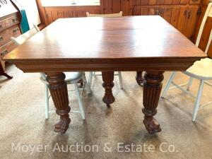 "Square Oak Kitchen Table with paw feet, antique, good condition, 42"" x 42"""