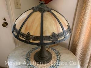 "Antique Carmel-slag Panel Table Lamp, one panel cracked otherwise good condition, works, 18""w x 21""h"
