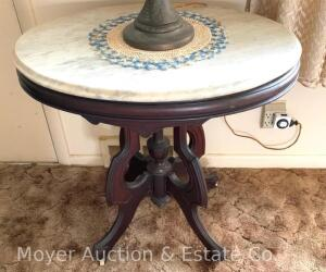 "Oval Marble-top Lamp Table, antique, walnut base, good condition, 21"" x 29"" top, 30""t,"