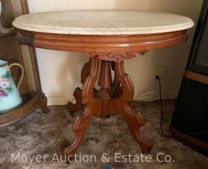"Oval Marble-top Lamp Table, white marble, walnut base, excellent cond., 32""w x 24""d top, 29""t"