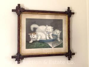 "Currier & Ives Lithograph ""The Three White Kittens"" in walnut criss-cross frame, all antique, 16"" x 19"""