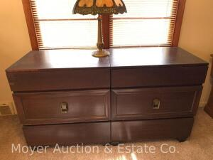 "Pair of 3dr. Mahogany Dressers, each is 30""w x 33""h, 20""d, scratches & wear from use, bid is for both"