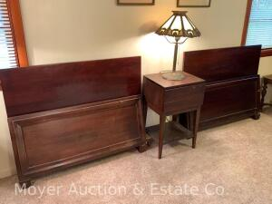 Pair of Twin-size Bed Frames & One-drawer Night Stand, incl. headboards, footboards & wooden side rails