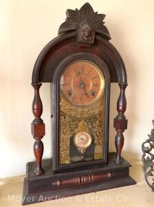 Ingraham Walnut Shelf Clock, antique, with pendulum & key, wants to work, finish loss & movement is loose