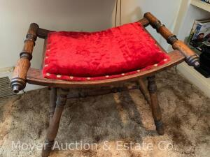 "Oak Stool, curved seat with red upholstered top, antique, nice condition, 20""w x 15""d, 15""t"