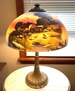 "Reverse-Painted Table Lamp, metal base, excellent condition, no visible markings,16""w x 22""h"
