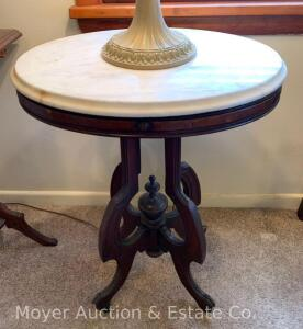"Oval Marble-top Lamp Table, petite walnut base, 21"" x 16"", 29""h"