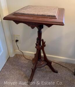 "Walnut Plant Stand with chocolate marble inset, nice condition, 16"" x 17"", 30""h"