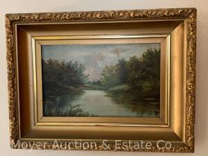 "Landscape Painting on Board, unsigned, gold frame, 10"" x 14"""
