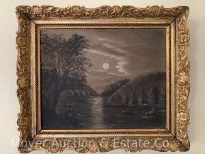"Painting on Canvas of moonlit landscape, unsigned, antique in gold frame, 11"" x 13"""