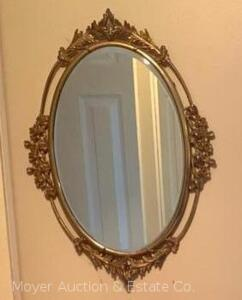 "Oval Wall Mirror, brass-tone metal frame, 25""t x 19""w overall, good cond."