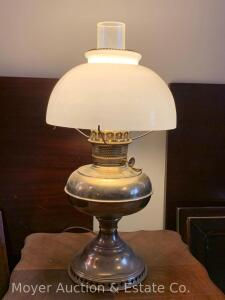 "Brass Rayo Table Lamp with Milkglass Shade & chimney, electrified, good condition, 19""t"