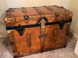 "Flat-top Trunk with liner, unusual, antique, refinished, 28""w x 21""t"