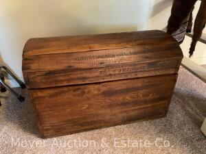 "Antique curved-top Trunk, refinished, good condition, 26""w x 17"""