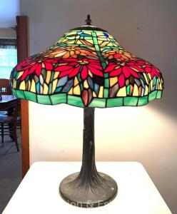 "Contemporary Stained-glass Table Lamp, metal base, not old, one panel broken otherwise good cond., works, 18""w x 22""t"