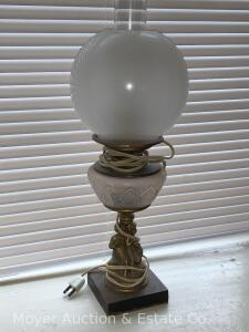 "Oil Lamp, iron figural base with frosted ball shade, electrified, 20""t"