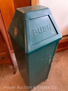 "Bennett Mfg. Metal Waste Can, green, with metal liner, made in Alden, 12""w x 12""w, 34""h"