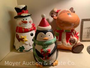"3 Christmas Cookie Jars: Snowman, Penguin, & Cow; all are ceramic, 10"" to 12 1/2""t"