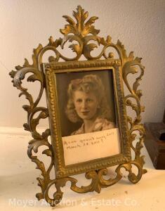 "Ornate Iron Picture Frame, rectangle opening, with stand/foot, 12""h x 9""w"