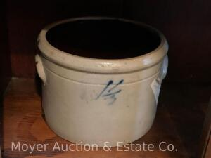 "Stoneware Crock with cobalt ""1 1/2"", 7""t x 9""w, nice condition"