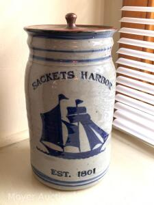 """Sackets Harbor"" Stoneware Jar with lid, contemporary, signed & dated '97, 10""h"