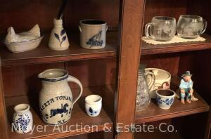 Group of Small Stoneware Pottery Pieces incl. North Tonawanda 'Carousel' pitcher