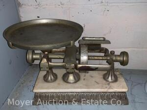"Antique Scale ""The Micrometer"" by The Dodge Scale Co., nickel plated cast iron with marble top, appears complete & nice original cond."