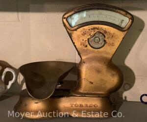 "Toledo 3lb. Candy / General Store Scale, model 405AR, brass bowl, good orig cond., 14 1/2""t"