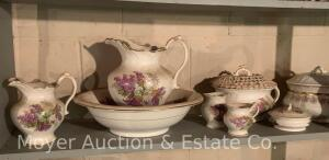 6pc. Chamber Set with Bowl & Pitcher and accessory pieces plus another chamber pot