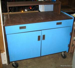 Blue cabinet on wheels