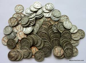 130 Mercury dimes, assorted dates & condition (bid is for all 130)