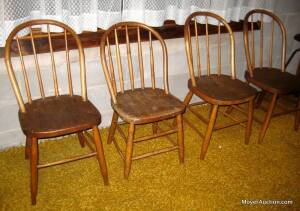4 curved & spindle-back chairs, antique, (one is slightly different but hardly noticeable).  Bid is for all 4 chairs
