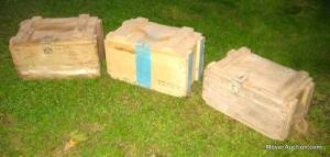 3 wooden ammunition boxes, rope handles, larger size, (bid is for all 3)