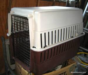 Poly dog/animal crate and a folding wire-type crate (bid is for both)
