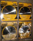 4 new Dewalt 12in. saw blades: 3-32tooth general purpose blades & 1-80tooth fine finish blade, all 4 are unused in the package, (some may have gotten wet)  Bid is for all 4.