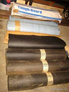 3 new rolls of tar paper/underlayment & 3 new rolls of Tough Guard ice shield & 2 new 20ft. rolls of Cobra ridge vent (bid is for all)