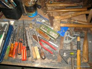 Group of hand tools incl. hammers, pry bar, screwdrivers, rivet tool, hatchet, etc. (see pictures) Bid is for all.