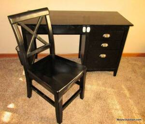 "Black student desk with matching chair, 3drawers on side & keyboard drawer.  Desk top is 48""wide by 21""deep, includes chair."
