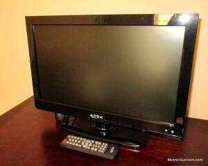 "Apex 19"" LED flat-panel television, model #LE1910, with remote control, like-new condition"