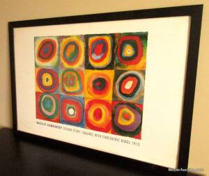 "Kandinsky framed decorative art poster ""Concentric Rings"", black metal frame, overall size: 38""wide by 26""tall"