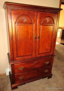 "Stanley Furniture Co. cherry gentlemans chest, overall size: 60""tall by 38""wide by 18""deep, nice condition"
