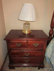 "Pair of Stanley Furniture Co. night stands & pr. of lamps, each stand has 2 drawers, overall size of each: 26""wide by 16""deep, both in nice condition, (bid is for all 4)."