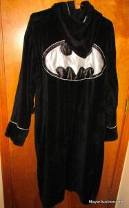 Batman black terrycloth bathrobe with hood (unkn. size - appears average size) & Star Trek shirt, size small.  (bid is for both)