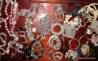 Group of costume jewelry necklaces, earrings & a few bracelets too.