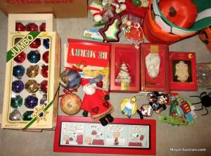 Group of Christmas decorations & other holiday decor. incl. Christmas tree, ornaments, etc. (Bid is for the group)