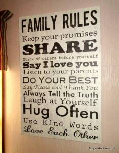 "Decorative ""Family Rules"" picture printed on canvas, stretcher framed, 32"" tall by 21"" wide."