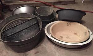Group of tubs, pails & basins